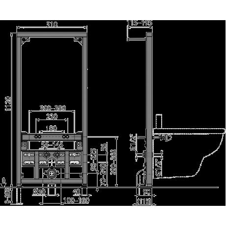 ALCA Монтажна рамка за биде A105 1120 mm