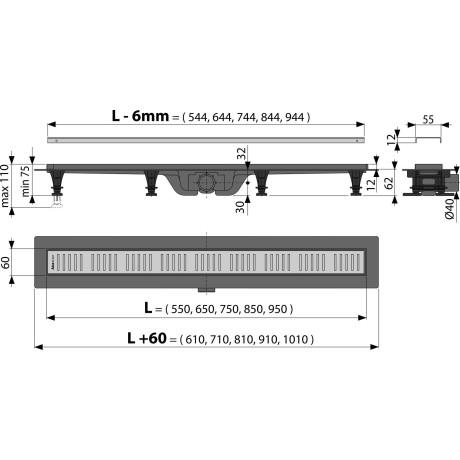 ALCA Пластмасов Линеен сифон APZ10 с решетка от неръждаема стомана 650 mm