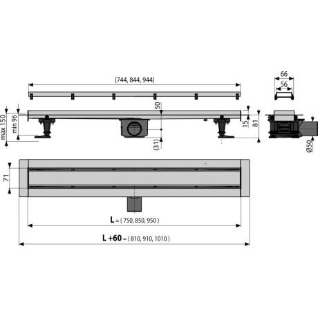 ALCA Линеен сифон APZ13 с двустранна решетка Double 950 mm