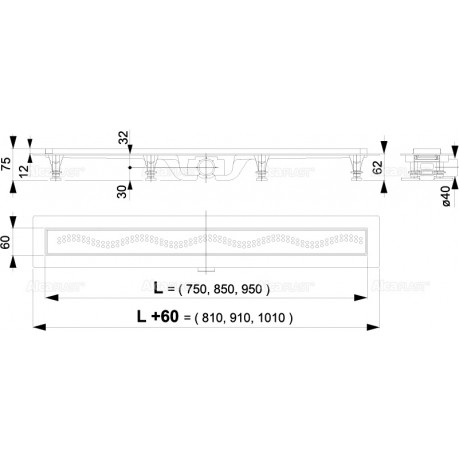 ALCA Пластмасов Линеен сифон APZ8 с решетка от неръждаема стомана 750 mm