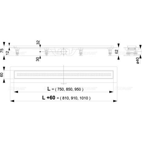 ALCA Пластмасов Линеен сифон APZ9 с решетка от неръждаема стомана 950 mm
