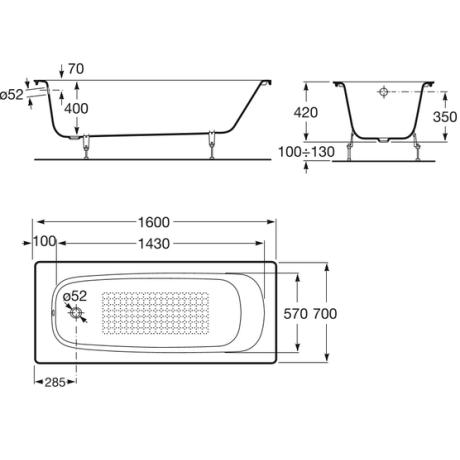 CONTINENTAL Правоъгълна чугунена вана 160 х 70 см