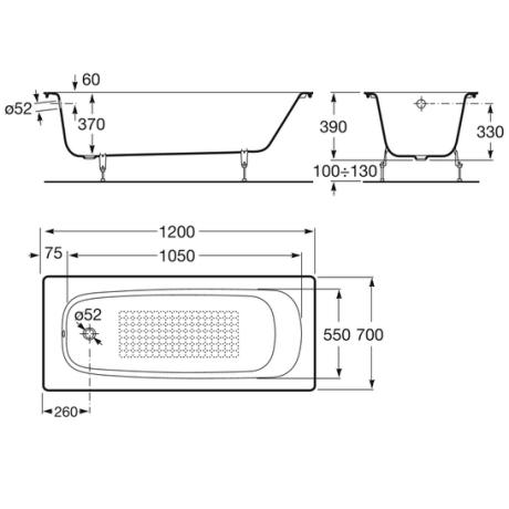 CONTINENTAL Правоъгълна чугунена вана 1200