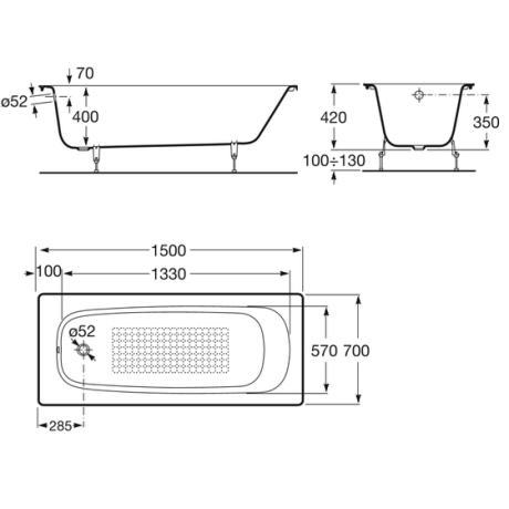 CONTINENTAL Правоъгълна чугунена вана 1500