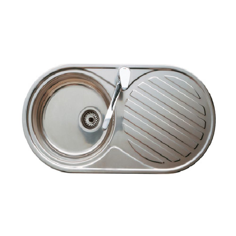 DUO кухненска мивка с десен отцедник с размери 84 / 44 с овална форма