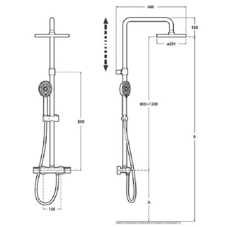 EVEN-T ROUND душ-колона термостатична с регулиране на височината