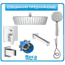 Душ-система Roca ATLAS Square с подвижен душ и тънка душ-пита