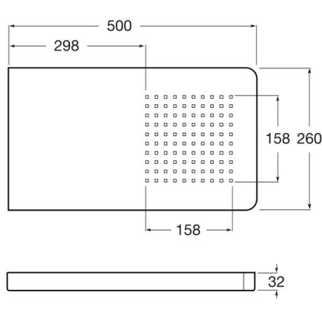 Puzzle Душ глава 500 х 260 мм от неръждаема стомана за монтаж на стена