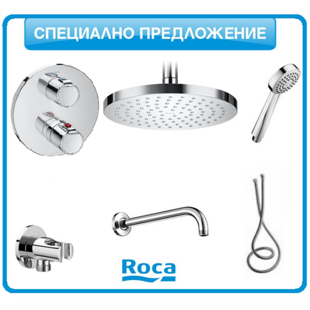 Душ-система Roca VICTORIA термостатична с подвижен душ и душ-пита
