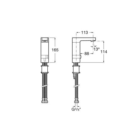 L 90-E Електронен сензорен смесител – Захранване с батерии