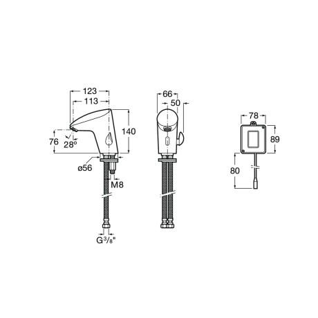 M2- E Електронен смесител за умивалник със захранване от мрежата
