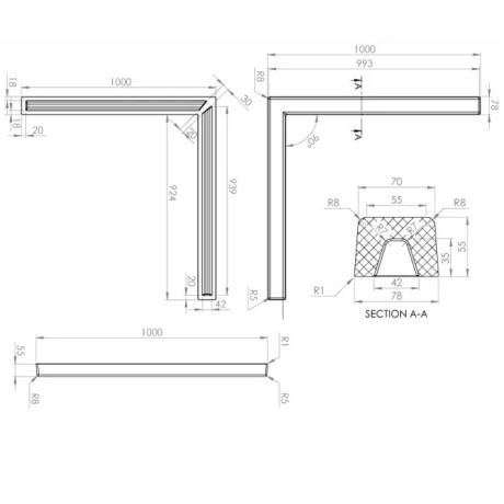 FAT Праг за душ-кабина 125x125 от Граниксит - Прав ъгъл