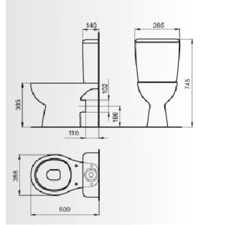 Моноблок MIRA 60 см страничнo захранване със седалка и капак с пласмасови панти