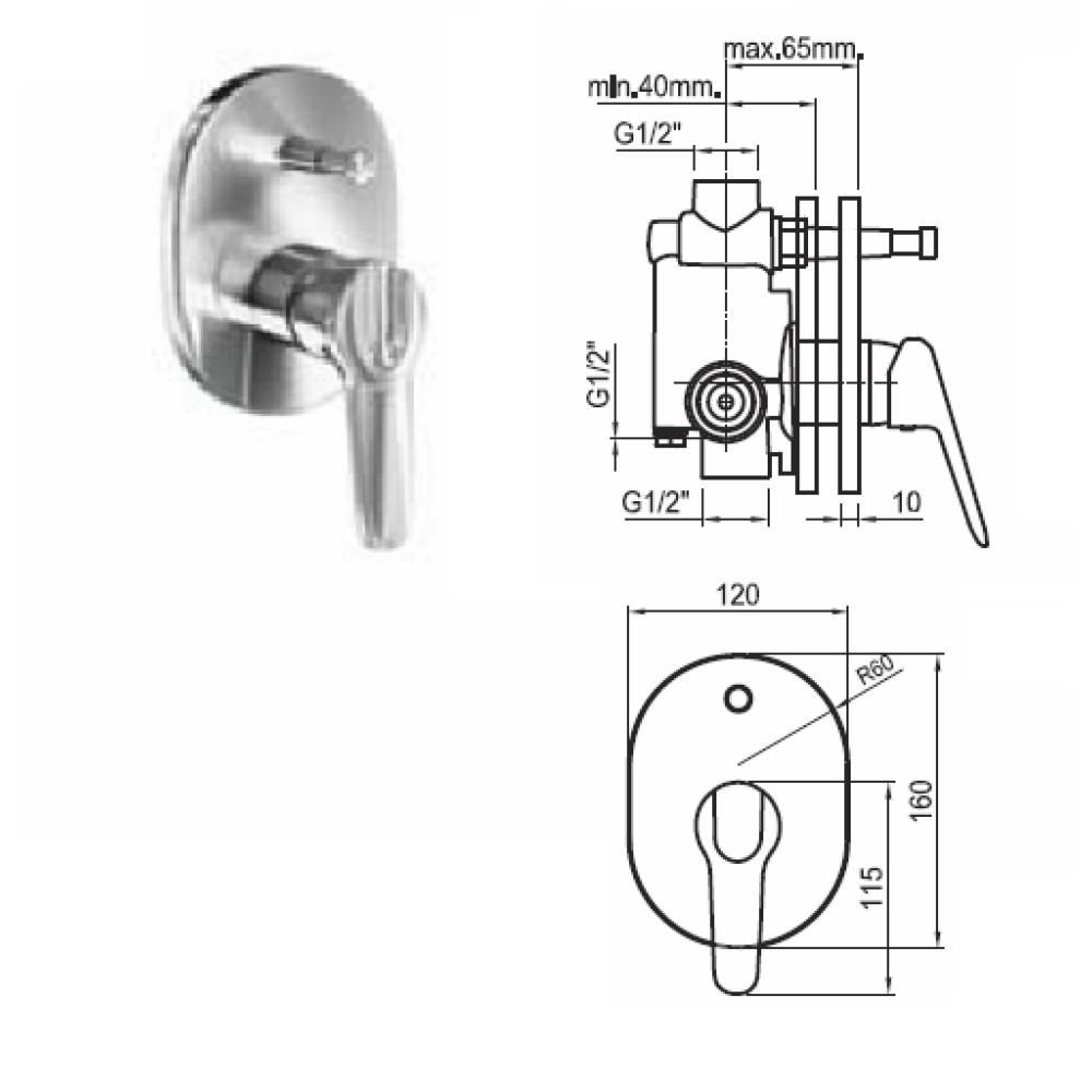 IRIS вграден смесител за вана и душ