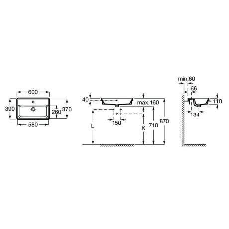 GAP Square Тънкостенен умивалник за вграждане в плот