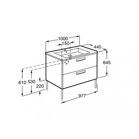 GAP Мебел с умивалник за вграждане в плот 100