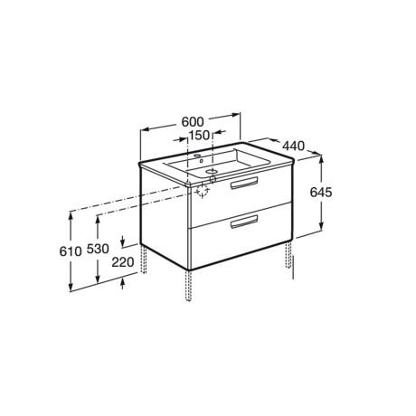 GAP Мебел с умивалник за вграждане в плот 60