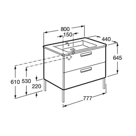 GAP STANDART Мебел с умивалник  и две чекмеджета 800 mm - МООД ТЕКА