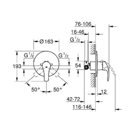 Eurosmart 04 смесител за вграждане за душ
