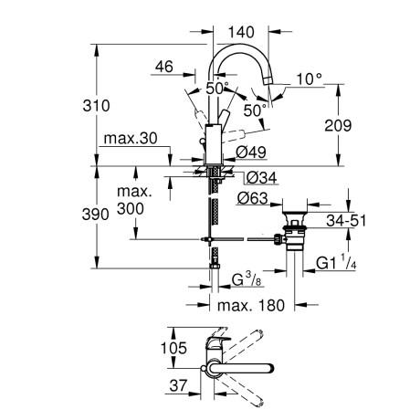 Bauflow L смесител за умивалник