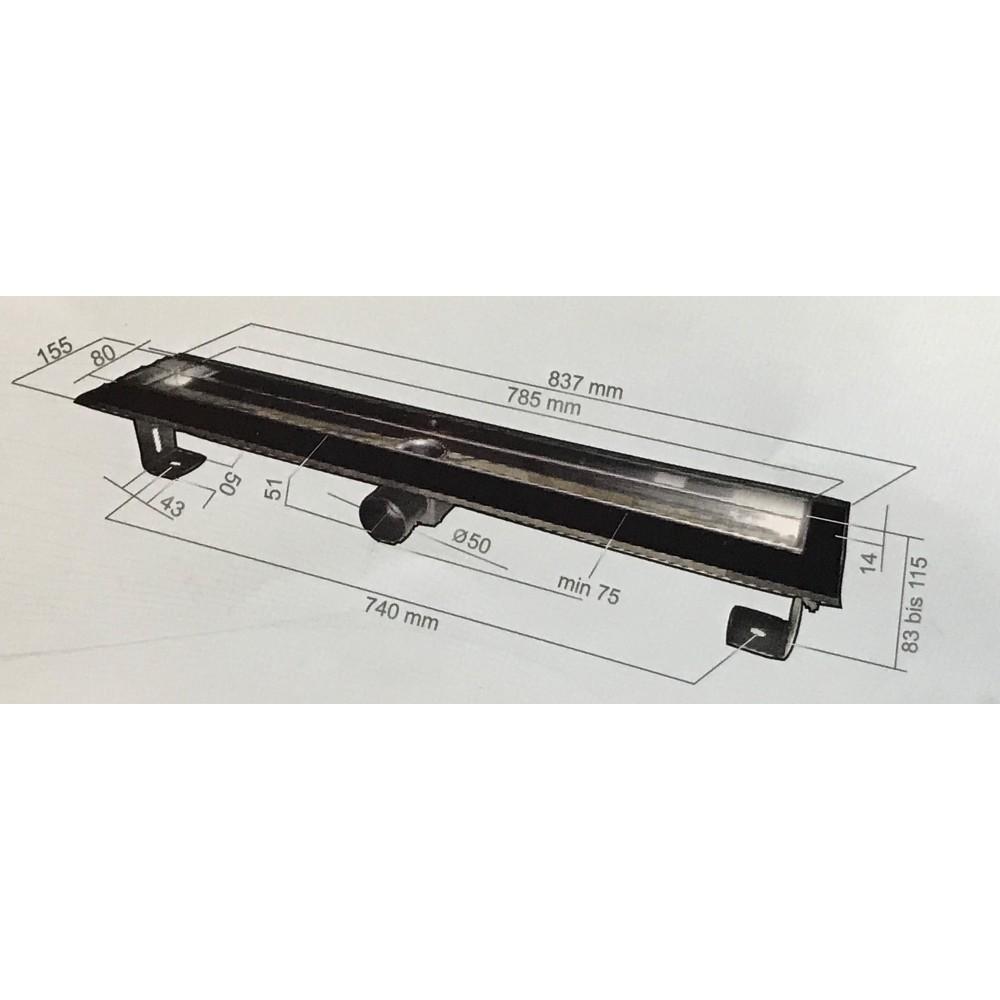 Inox Style RECTANGLES  Линеен сифон 985mm Правоъгълници с фланци