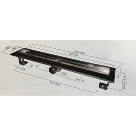Inox Style RECTANGLES  Линеен сифон 685mm Правоъгълници с фланци