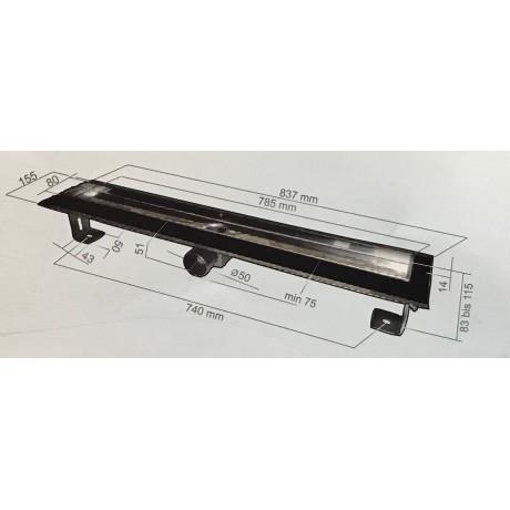 Inox Style DROPS Линеен сифон 1085mm Капки с фланци