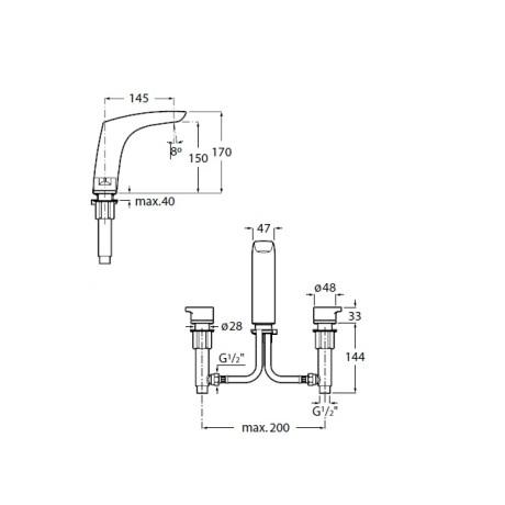 INSIGNIA Смесител за умивалник с централно вграждане, Хром