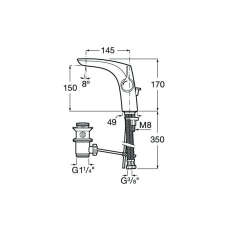 INSIGNIA Висок сммесител за умивалник с клапан, Хром