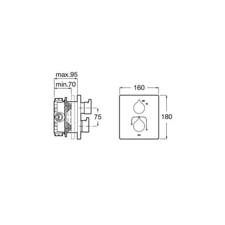 INSIGNIA вграден термостатичен смесител, Хром