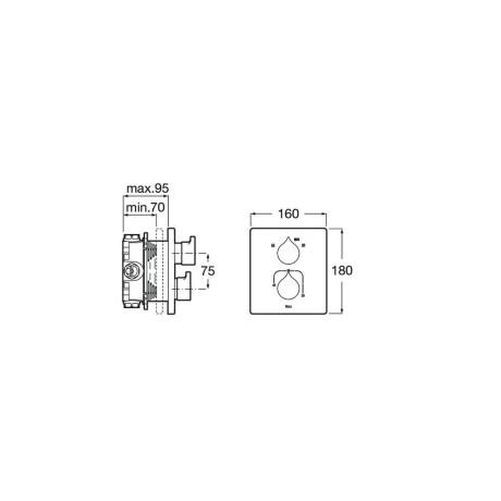 INSIGNIA термостатичен смесител за вана/душ, Хром