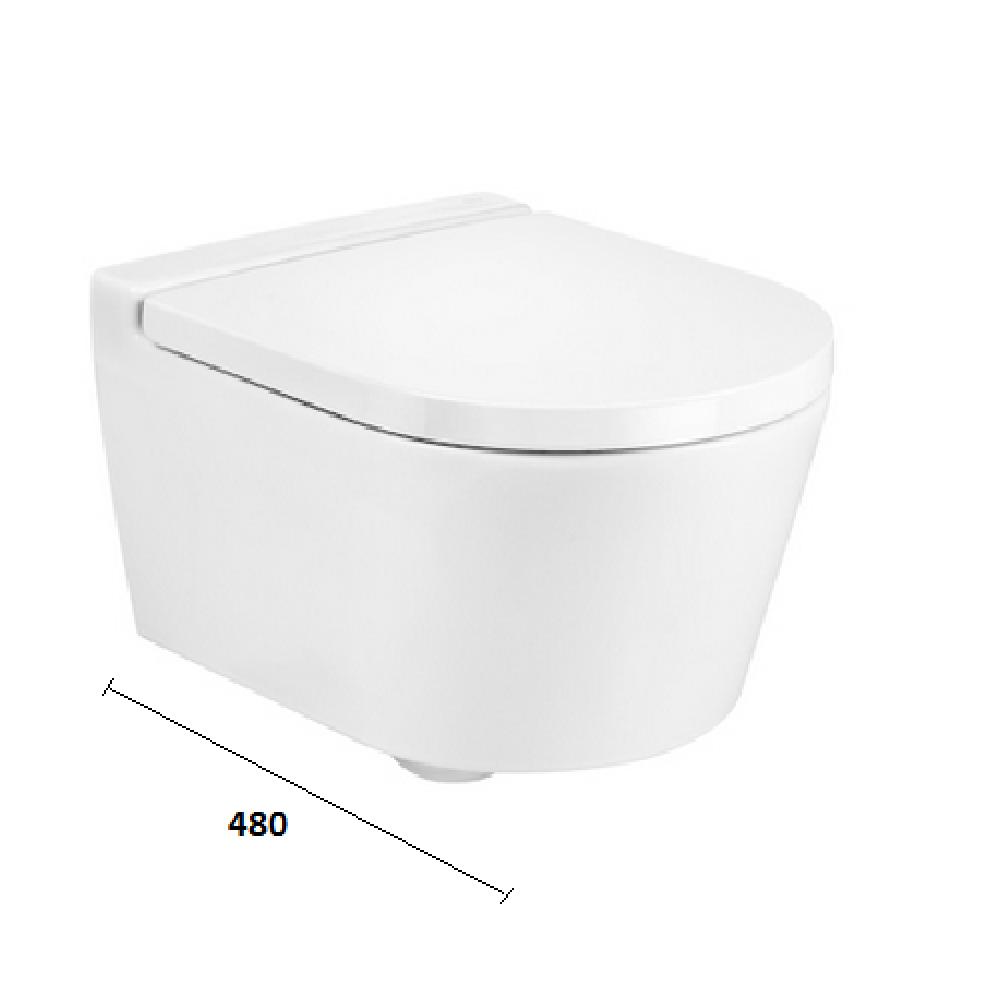 INSPIRA ROUND Компактна стенна тоалетна без ръб с капак плавно падане