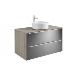INSPIRA Мебел за умивалник върху плот 60 x 50 Дъб/тъмно стъкло