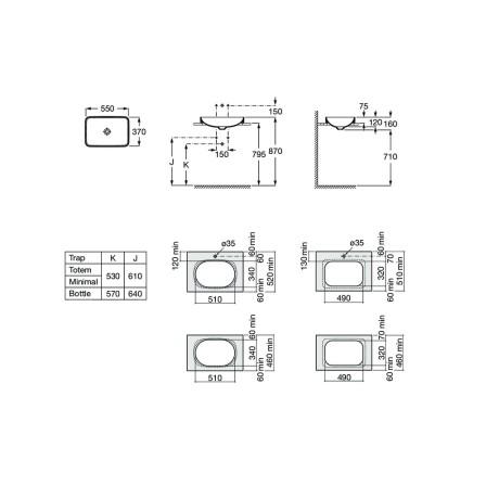 INSPIRA Drop-in Square Умивалник за монтаж в плот 550