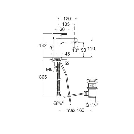 L 90 Смесител за умивалник с клапа - Квадратен, Хром
