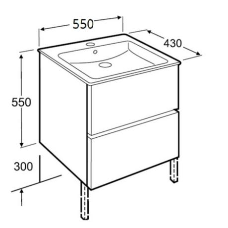 CUBE мебел с две чекмеджета 55 x 43