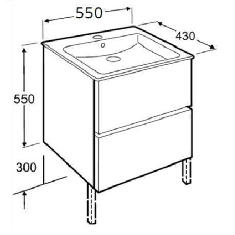 CUBE мебел с две чекмеджета 65 x 43