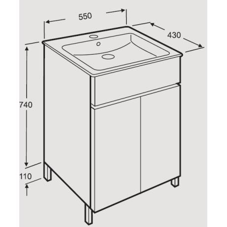 CUBE мебел с умивалник с две врати 55 x 43
