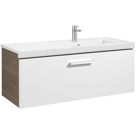 PRISMA UNIK Мебел 1100 mm с 1 чекмедже и умивалник в дясно, бял/пепел