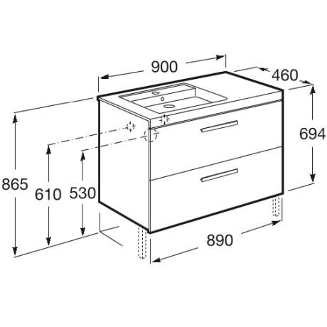 Prisma Unik базов модул с 2 чекмеджета 900mm и умивалник в ляво бял/пепел