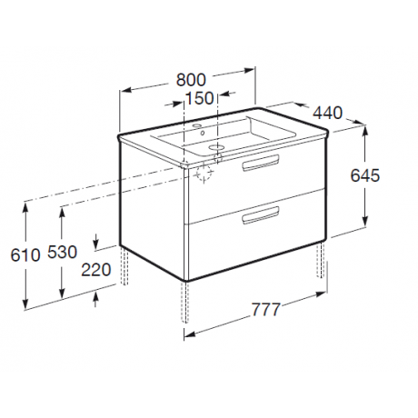 Мебел с умивалник THE GAP 80 см цвят бял гланц