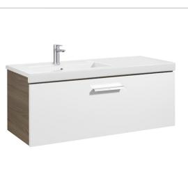PRISMA UNIK  Мебел 1100 mm с 1 чекмедже и умивалник в ляво, бял/пепел