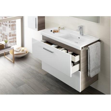 Prisma Unik мебел с 2 чекмеджета 900 mm и умивалник в дясно бял/пепел