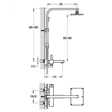 BS10 Душ-колона с телескопично тръбно окачване с чучур