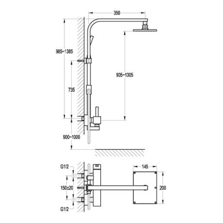 BS11 Душ-колона с телескопично тръбно окачване без чучур