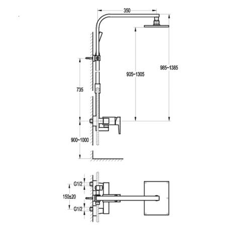 BS12 Душ-колона с телескопично тръбно окачване без чучур