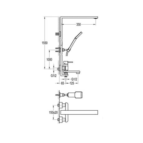 BS13 Душ-колона със стационарно окачване и чучур без пита