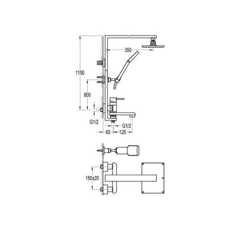 BS14 Душ-колона със стационарно окачване и чучур