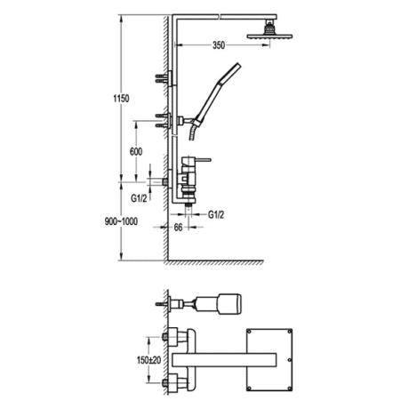 BS15 Душ-колона със стационарно окачване без чучур