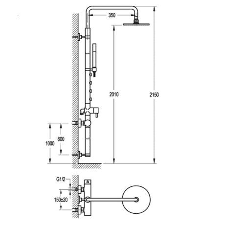 BS16 Душ-колона със стационарно окачване без чучур